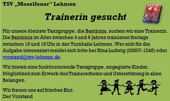 Bambini-Trainerin gesucht!
